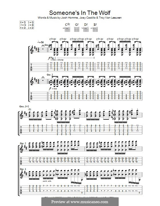 Someone's in the Wolf (Queens of the Stone Age): For guitar with tab by Joey Castillo, Joshua Homme, Troy Van Leeuwen