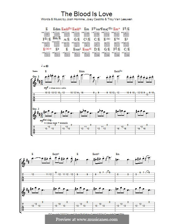 The Blood Is Love (Queens of the Stone Age): For guitar with tab by Joey Castillo, Joshua Homme, Troy Van Leeuwen