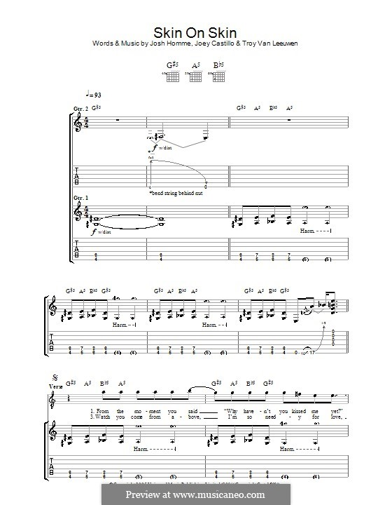 Skin on Skin (Queens of the Stone Age): For guitar with tab by Joey Castillo, Joshua Homme, Troy Van Leeuwen