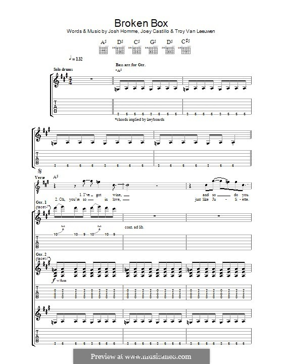 Broken Box (Queens of the Stone Age): For guitar with tab by Joey Castillo, Joshua Homme, Troy Van Leeuwen