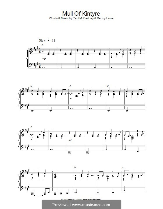 Mull of Kintyre (Wings): For piano by Denny Laine, Paul McCartney