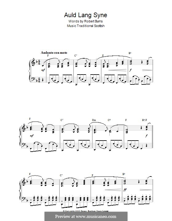 Auld Lang Syne, for Piano: With chords by folklore