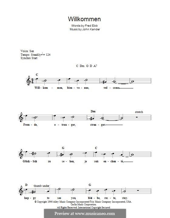 Willkommen (from Cabaret): For keyboard by John Kander