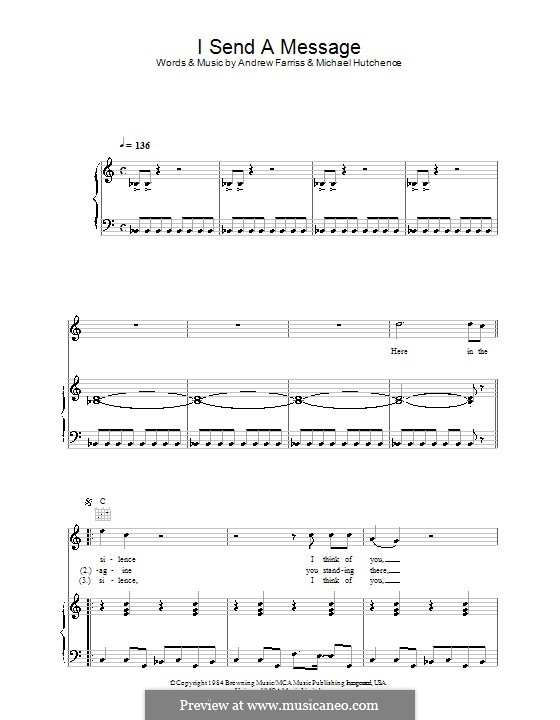 I Send a Message (INXS): For voice and piano (or guitar) by Andrew Farriss, Michael Hutchence