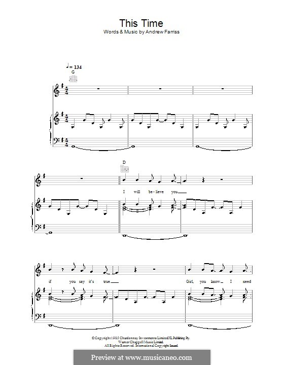 This Time (INXS): For voice and piano (or guitar) by Andrew Farriss