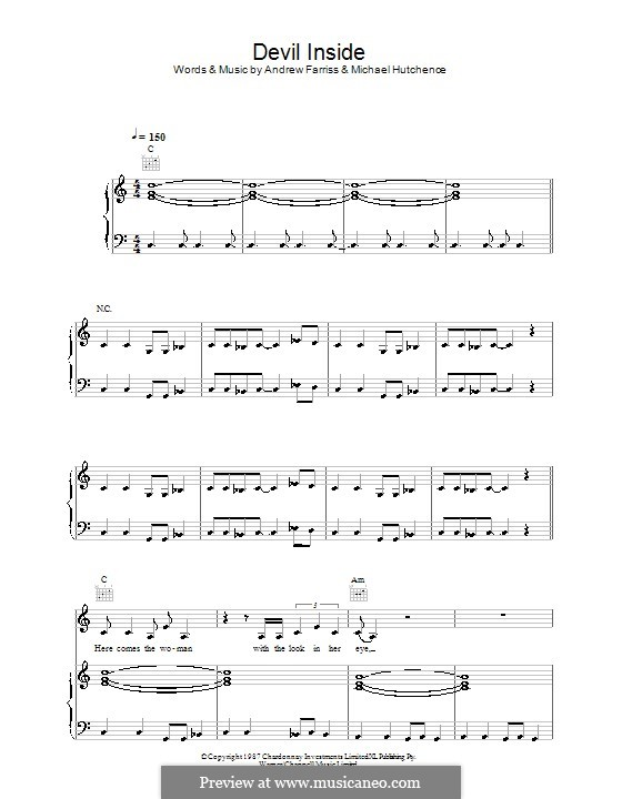 Devil Inside (INXS): For voice and piano (or guitar) by Andrew Farriss, Michael Hutchence
