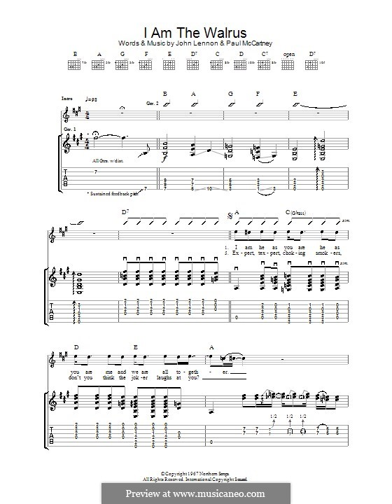 I am the Walrus (The Beatles): For guitar by John Lennon, Paul McCartney
