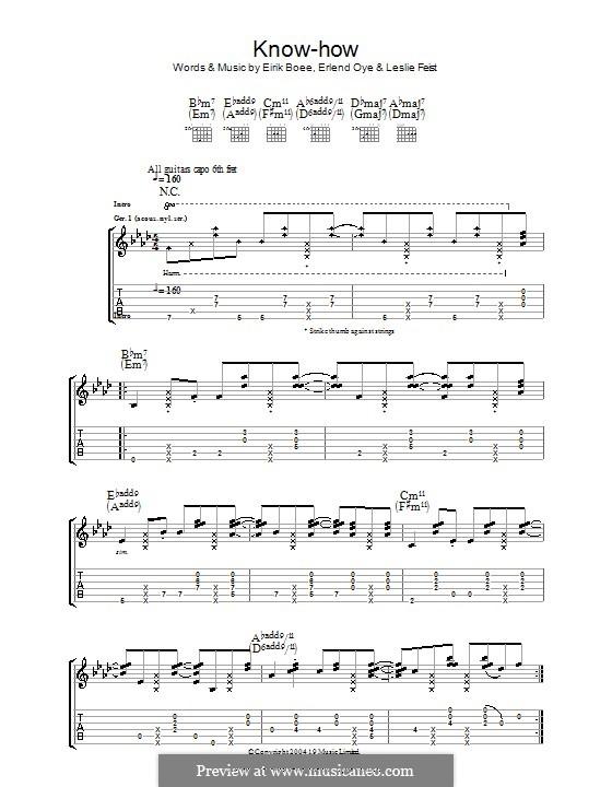 Know-How (Kings of Convenience): For guitar with tab by Eirik Glambek Bøe, Erlend Oye, Leslie Feist