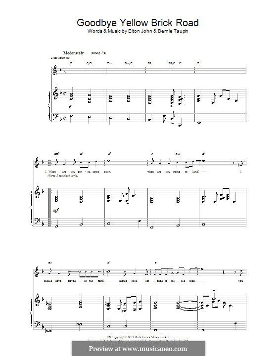 Goodbye Yellow Brick Road: For voice and piano (or guitar) by Elton John
