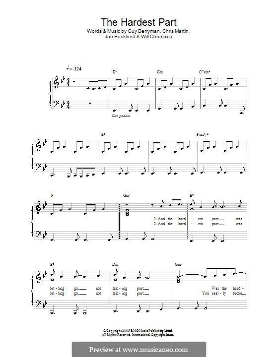 The Hardest Part (Coldplay): For easy piano by Chris Martin, Guy Berryman, Jonny Buckland, Will Champion