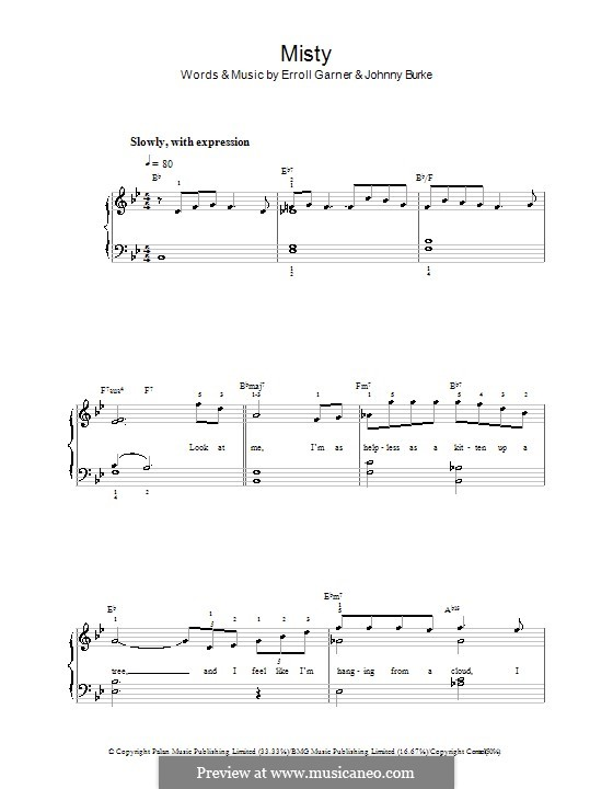 Misty (Johnny Mathis): For easy piano by Erroll Garner