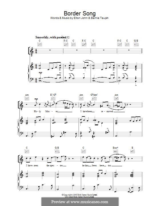 Border Song: For voice and piano (or guitar) by Elton John