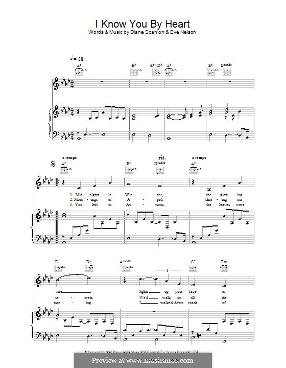 I Know You By Heart (Eva Cassidy): For voice and piano (or guitar) by Diane Scanlon, Eve Nelson