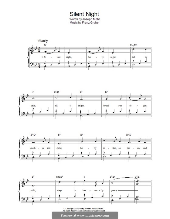 Silent Night (Printable): For voice and piano by Franz Xaver Gruber