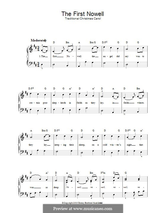 The First Nowell (The First Noël), Printable scores: Piano-vocal score by folklore