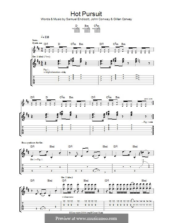 Hot Pursuit (The Bravery): For guitar with tab by Gillian Conway, John Conway, Samuel Endicott