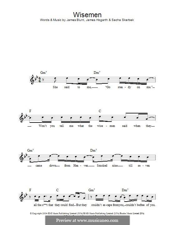 Wisemen: Melody line, lyrics and chords by Jimmy Hogarth, James Blunt, Sacha Skarbek