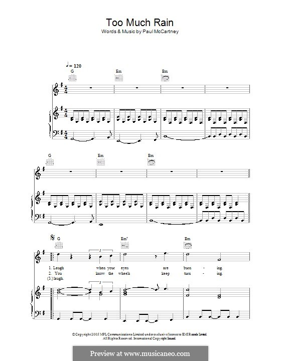 Too Much Rain: For voice and piano (or guitar) by Paul McCartney