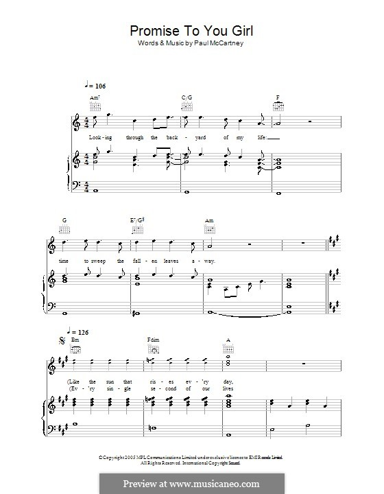 Promise to You Girl: For voice and piano (or guitar) by Paul McCartney