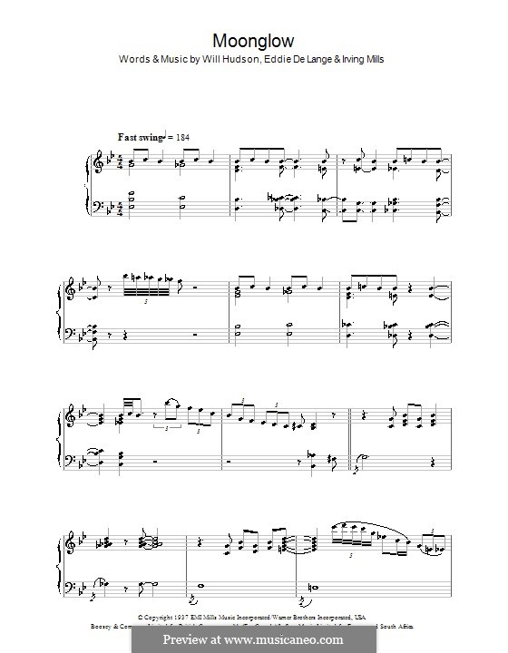 Moonglow: For piano by Irving Mills, Eddie De Lange, Will Hudson