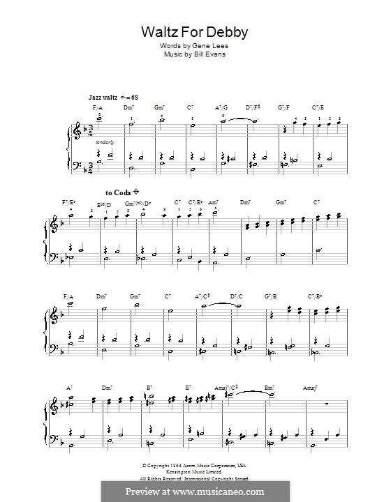Waltz for Debby: For easy piano by Bill Evans