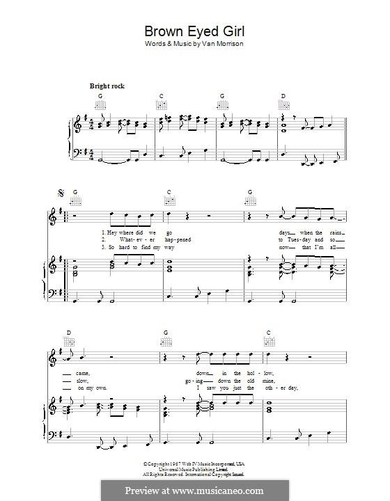 Brown Eyed Girl by V. Morrison - sheet music on MusicaNeo