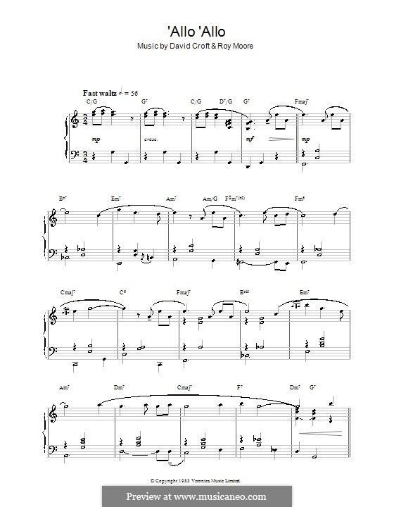 'Allo 'Allo: For piano by Roy Moore