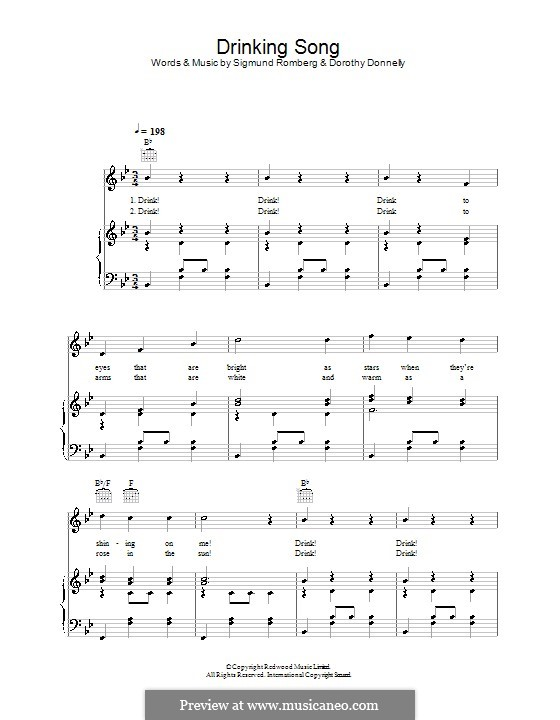 Drinking Song (from The Student Prince): For voice and piano (or guitar) by Dorothy Donnelly