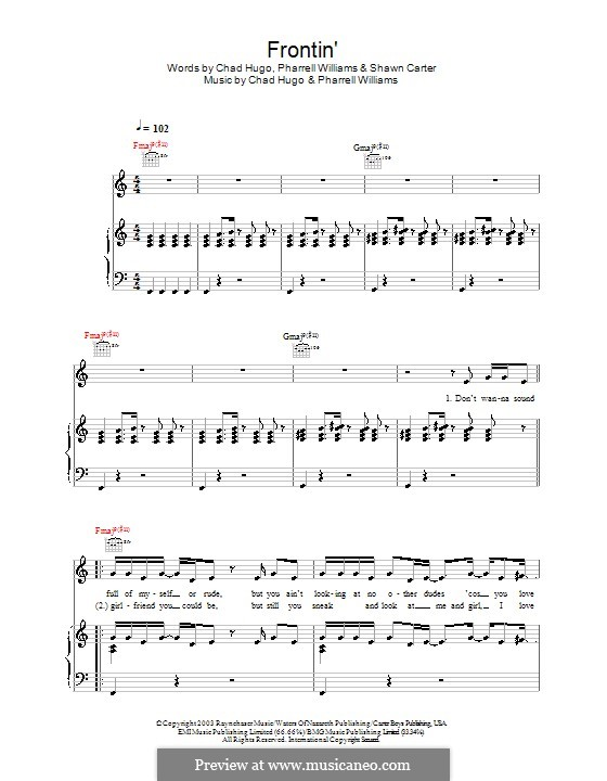 Frontin' (Jamie Cullum): For voice and piano (or guitar) by Charles Edward Hugo, Pharrell Williams