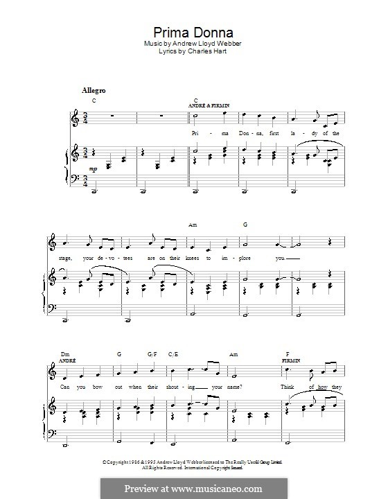 Prima Donna: For voice and piano (or guitar) by Andrew Lloyd Webber