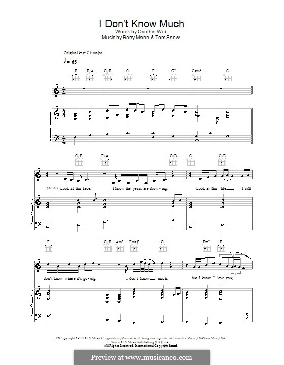 Don't Know Much (Aaron Neville & Linda Ronstadt): For voice and piano (or guitar) by Barry Mann, Tom Snow