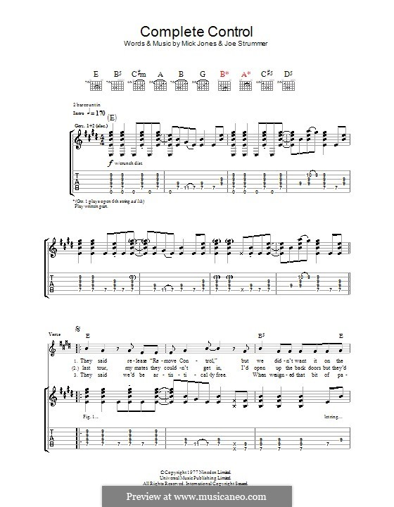 Complete Control (The Clash): For guitar with tab by Joe Strummer, Mick Jones