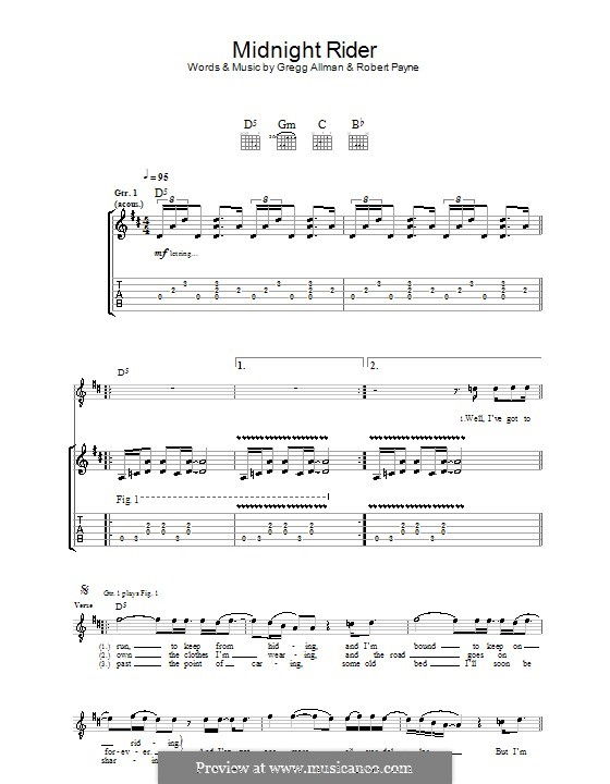 Midnight Rider (The Allman Brothers Band): For guitar with tab by Gregg Allman, Robert Kim Payne