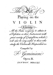 The Art of Playing on the Violin, Op.9: The Art of Playing on the Violin by Francesco Geminiani