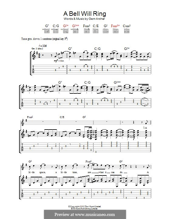 A Bell Will Ring (Oasis): For guitar with tab by Gem Archer