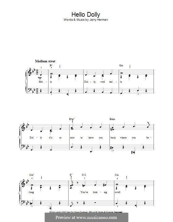 Hello Dolly (Louis Armstrong): For easy piano by Jerry Herman