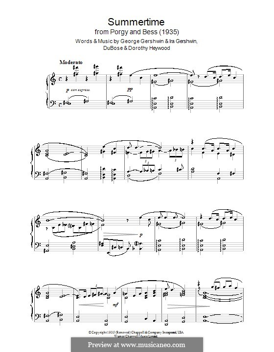 Summertime, for Piano: For a single performer by George Gershwin