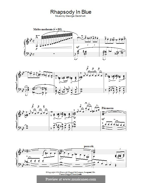 Rhapsody in Blue: For piano (high quality sheet music) by George Gershwin