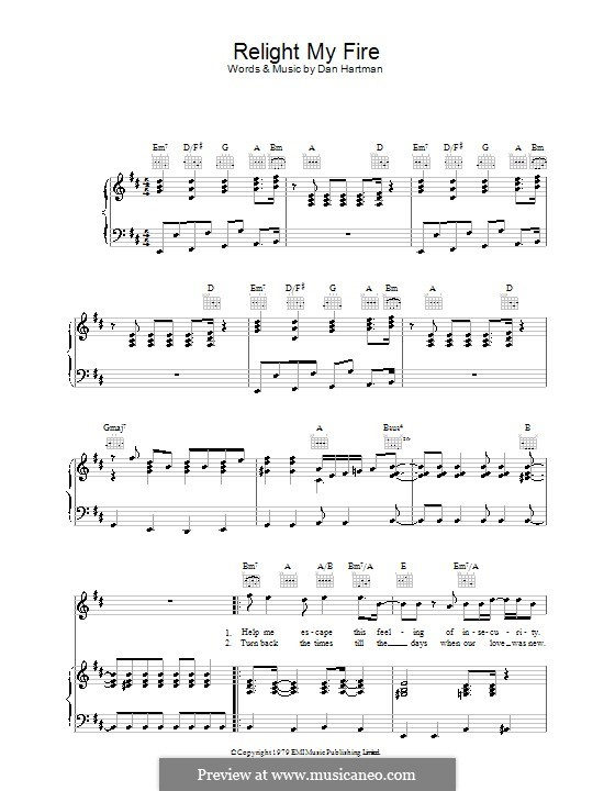 Relight My Fire (Take That): For voice and piano (or guitar) by Dan Hartman