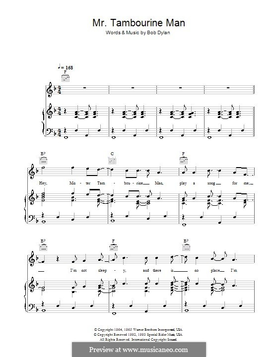 Mr. Tambourine Man by B. Dylan - sheet music on MusicaNeo