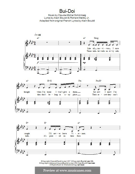 Bui-Doi: For voice and piano (or guitar) by Claude-Michel Schönberg