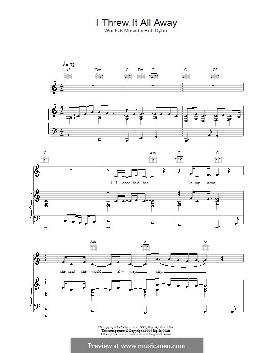 I Threw It All Away: For voice and piano (or guitar) by Bob Dylan