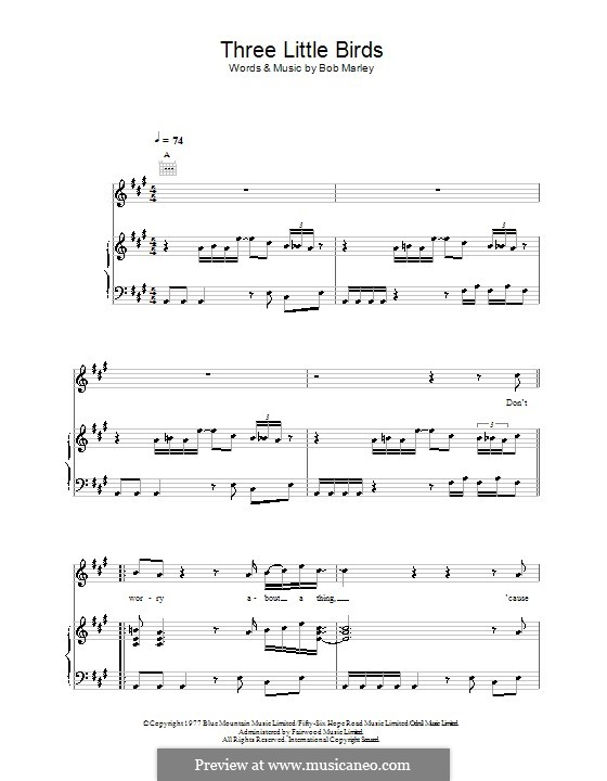 Three Little Birds: For voice and piano (or guitar) by Bob Marley