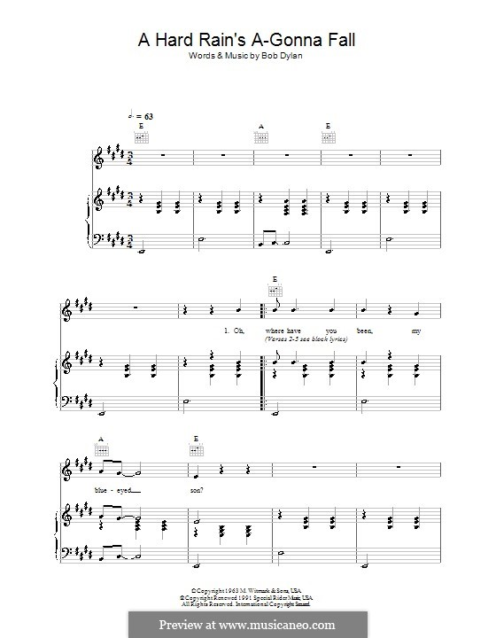 A Hard Rain's A-Gonna Fall: For voice and piano (or guitar) by Bob Dylan