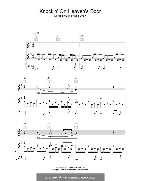 Knockin' on Heaven's Door: For voice and piano (or guitar) by Bob Dylan