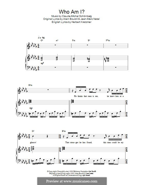 Who am I?: For voice and piano (or guitar) by Claude-Michel Schönberg