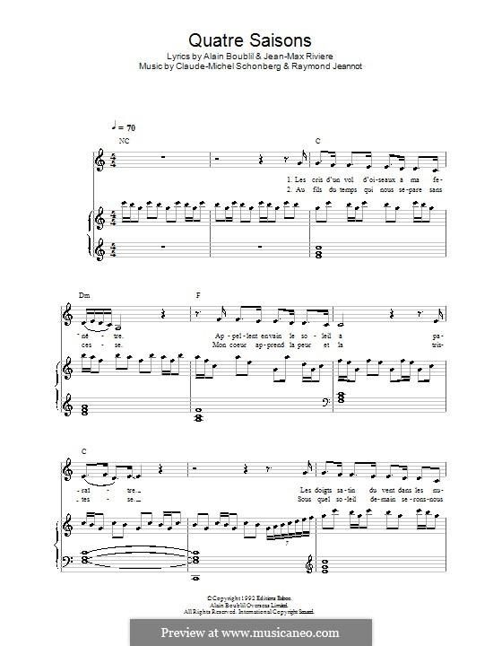 Quatre Saisons pour un Amour (from La Revolution Francaise): For voice and piano (or guitar) by Claude-Michel Schönberg, Raymond Jeannot