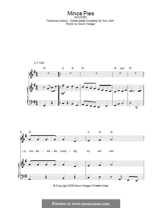 Mince Pies: For voice and piano (or guitar) by folklore