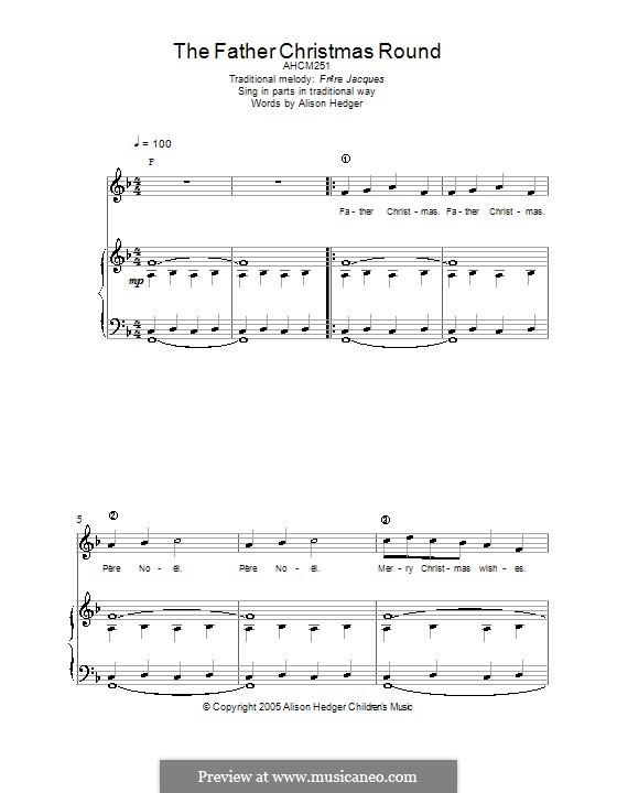 The Father Christmas Round: For voice and piano (or guitar) by folklore