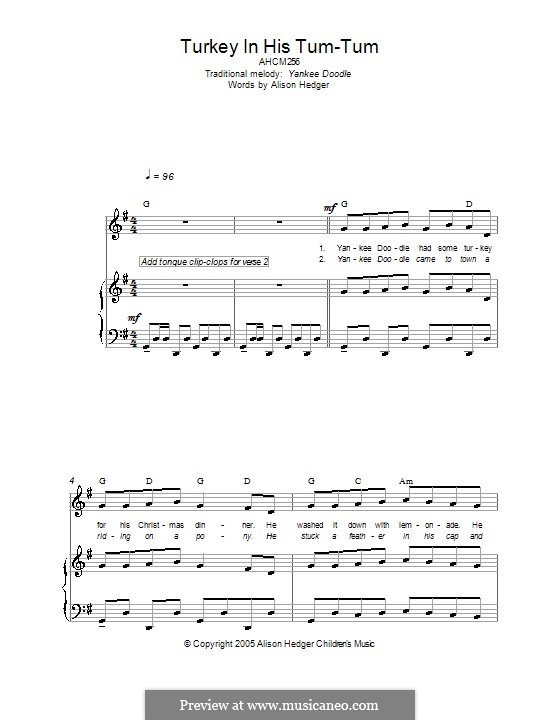 Turkey in His Tum-Tum: For voice and piano (or guitar) by folklore
